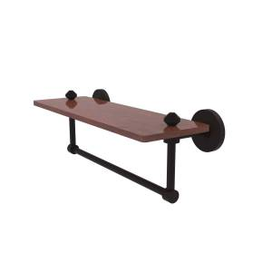 Allied SB-1TB-16-IRW-ORB South Beach Collection 16 in. Solid IPE Ironwood Shelf with Integrated Towel Bar, Oil Rubbed Bronze
