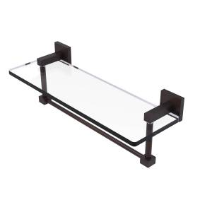 Allied MT-1-16TB-VB 16 in. Montero Collection Glass Vanity Shelf with Integrated Towel Bar, Venetian Bronze
