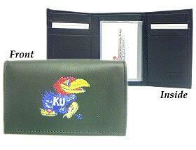 Caseys Kansas Jayhawks Wallet Trifold Leather Embroidered