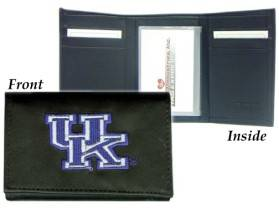 Caseys Kentucky Wildcats Wallet Trifold Leather Embroidered