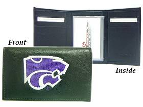 Caseys Kansas State Wildcats Wallet Trifold Leather Embroidered