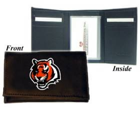 Caseys Cincinnati Bengals Wallet Trifold Leather Embroidered