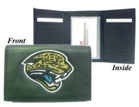 Caseys Jacksonville Jaguars Wallet Trifold Leather Embroidered