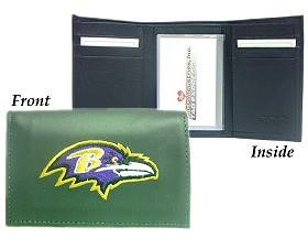 Caseys Baltimore Ravens Wallet Trifold Leather Embroidered