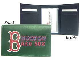 Caseys Boston Red Sox Wallet Trifold Leather Embroidered