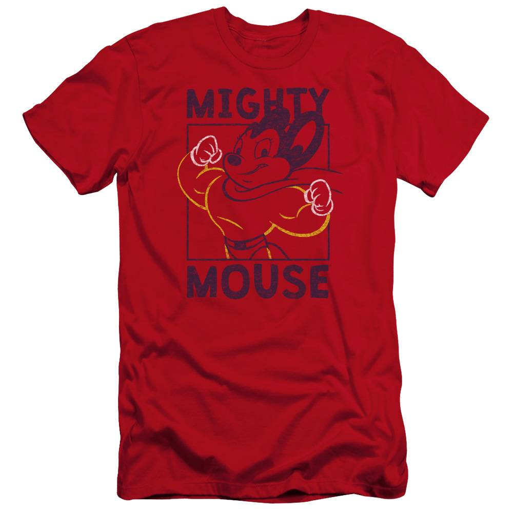 Trevco CBS1591-PSF-1 Mighy Mouse & Break the Box Adult Premium Canvas Slim Fit 30-1 HBO Short Sleeve T-Shirt, Red - Small