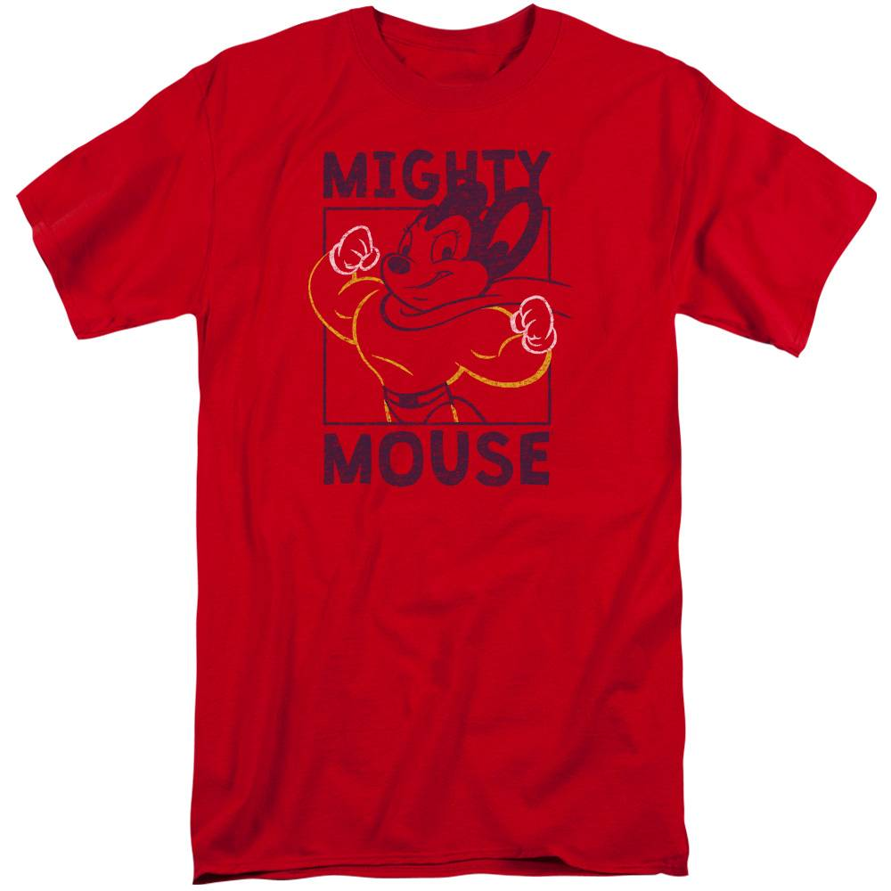 Trevco CBS1591-ATT-6 Mighy Mouse & Break the Box Adult Tall Fit 18-1 Short Sleeve T-Shirt, Red - 3X