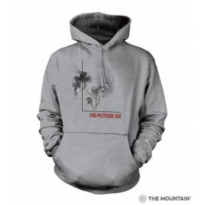The Mountain 7255761 Grey Pesticide Bumble Bee Hoodie - Medium