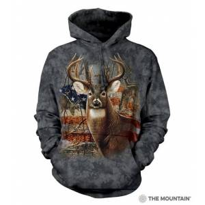The Mountain 7237091 Black Patriotic Buck-HSW Hoodie - Medium