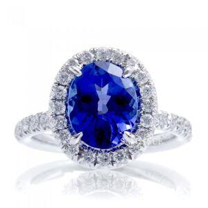 Harry Chad Enterprises 27561 7.75 CT Gold Jewelry Oval Tanzanite with Halo Diamond Wedding Ring