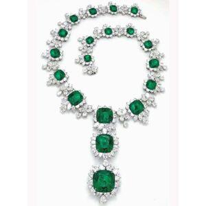Harry Chad Enterprises 6079 209.68 CT Diamonds & Green Emerald Platinum Pendant Bridal Necklace