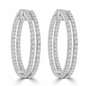 Glitter 8.00 CT White Gold 14K Double Row Diamonds Women Hoop Earrings
