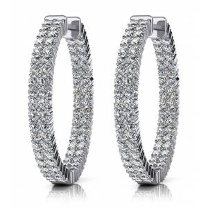 Harry Chad Enterprises 53712 Double Row 7.20 Carat Round Cut Diamonds Women Hoop Earrings - 14K White Gold