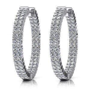 Glitter Double Row 7.20 Carat Round Cut Diamonds Women Hoop Earrings - 14K White Gold