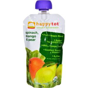 FoodFirst 4.22 oz Happytot Organic Superfoods Spinach Mango & Pear, Case of 16