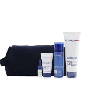 Clarins 261659 Men Essentials Set with 50 ml Super Moisture Balm Active 125 ml Face Wash & 30 ml Shampoo & Shower & 3 ml Shave Ease Oil - 4 Piece