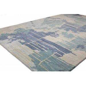Bashian R129-BL-2.6X8-HG377 2 ft. 6 in. x 8 ft. Greenwich Collection Contemporary Wool & Viscose Hand Tufted Area Rug, Blue