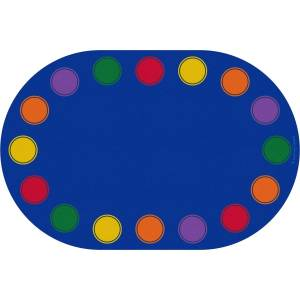 Learning Carpets CPR3085 Seating Dots Primary Oval Educational Rug - Large
