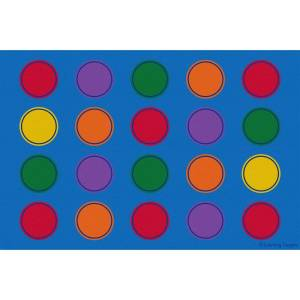 Learning Carpets CPR3088 Seating Dots Classic Blue Background Rectangle Educational Rug - Small