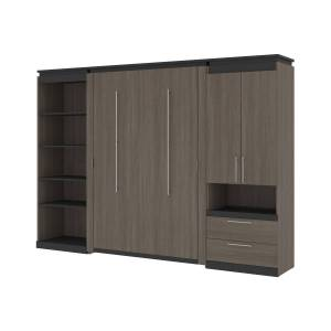Bestair Bestar 116863-000047 118-119 in. Orion Full Size Murphy Bed with Multifunctional Storage, Bark Gray & Graphite