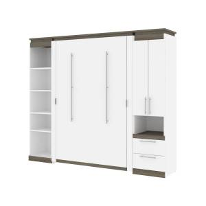 Bestair Bestar 116861-000017 98-99 in. Orion Full Size Murphy Bed with Narrow Storage Solutions, White & Walnut Gray