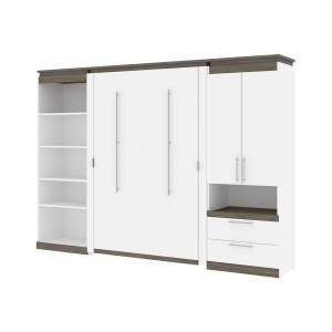 Bestair Bestar 116863-000017 118-119 in. Orion Full Size Murphy Bed with Multifunctional Storage, White & Walnut Gray