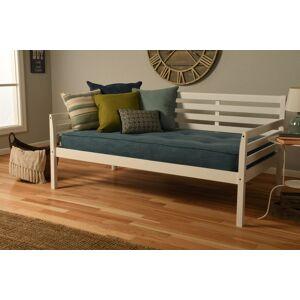 Pine Canopy BOHODBWHTMAQU2 Boho White Daybed with Linen Aqua Blue Mattress - Twin Size
