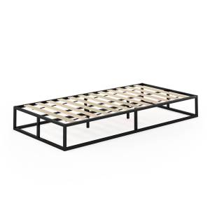 Highkey Angeland Monaco Metal Bed Frame Foundation with Wooden Slats -Twin Size