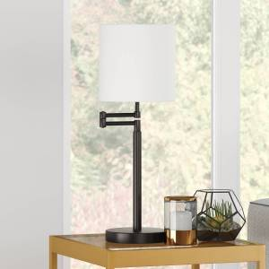 Henn & Hart TL0481 Moby Swing Arm Blackened Bronze Table Lamp with Drum Shade