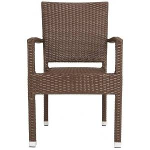 Safavieh PAT4004B-SET2 33.8 x 22 x 23 in. Kelda Stacking Arm Chair, Brown