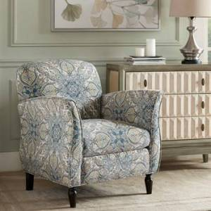 Madison Park MP100-0375 Escher Accent Chair, Blue Multi & Brown