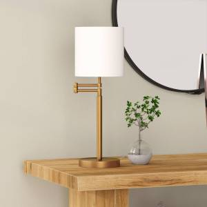 Henn & Hart TL0482 Moby Swing Arm Brass Table Lamp with Drum Shade