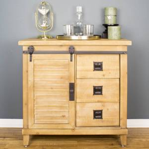 Heather Ann Creations W191416-NAT 1-Door & 3-Drawer Southport Accent Cabinet