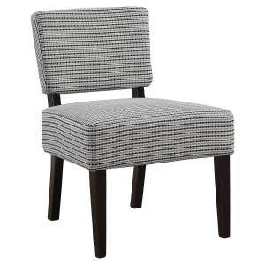 Daphne's Dinnette Light Grey & Black Abstract Dot Fabric Accent Chair