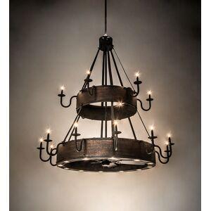 Meyda 213966 74 in. Costello 18 Light Two Tier Chandel-Air - Costello Black & Blackened Copper