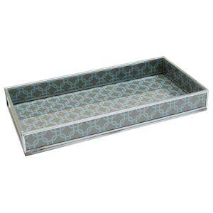 nu steel TR-246 Grey Geometric Print Decorative Glass Tray