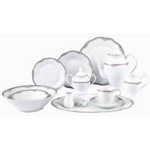Lorenzo Import Elizabeth-57 57 Piece Wavy Edge Silver Trim Dinnerware  Service for 8 By Lorren Home Trends