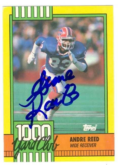 Autograph Warehouse 432286 Buffalo Bills 1990 Topps 1000 Yard Club 7 Creased Andre Reed Autographed Football Card