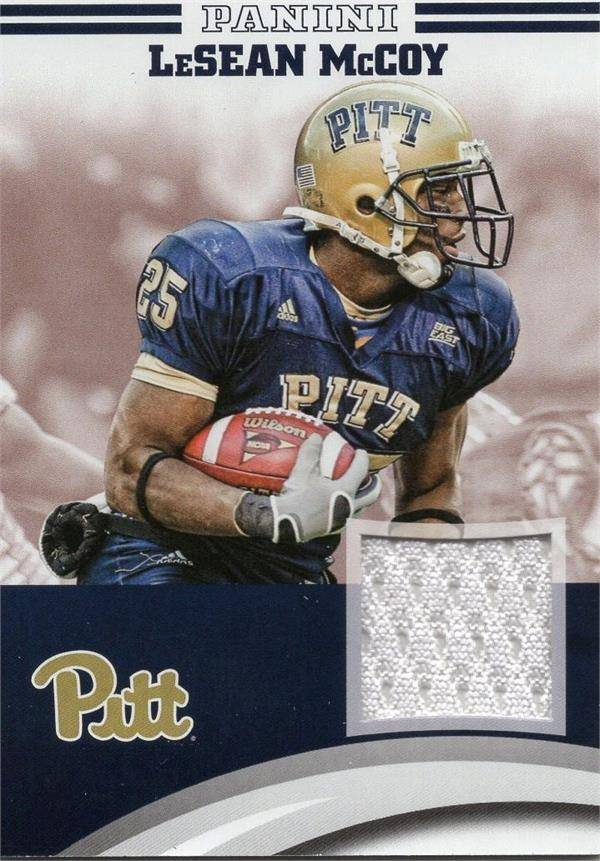 Autograph Warehouse 653828 Lesean Mccoy Player Worn Jersey Patch Football Card - Pittsburgh Panthers - 2016 Panini Team Collection No.LMPIT