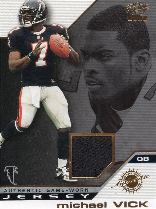Autograph Warehouse 653831 Michael Vick Player Worn Jersey Patch Football Card - Atlanta Falcons - 2002 Pacific Rookie Year No.4