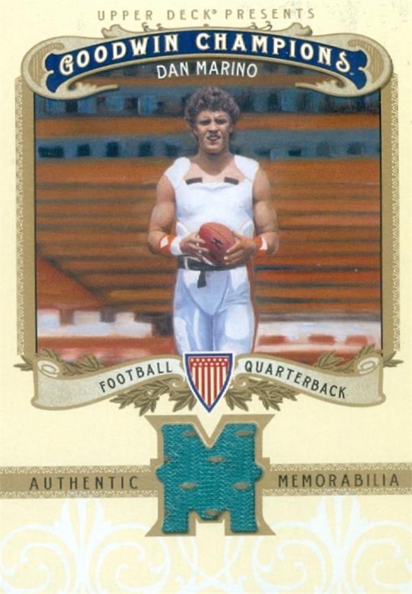 Autograph Warehouse 649448 Dan Marino Player Worn Jersey Patch Football Card - Miami Dolphins - 2012 Upper Deck Goodwin Champions No.MDM