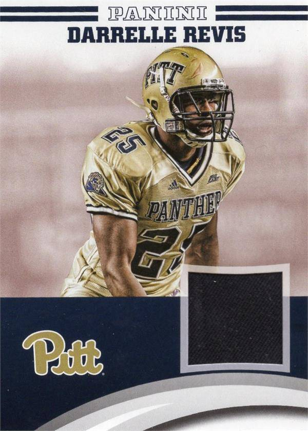 Autograph Warehouse 653832 Darrelle Revis Player Worn Jersey Patch Football Card - Pittsburgh Panthers - 2016 Panini Team Collection No.DRPIT