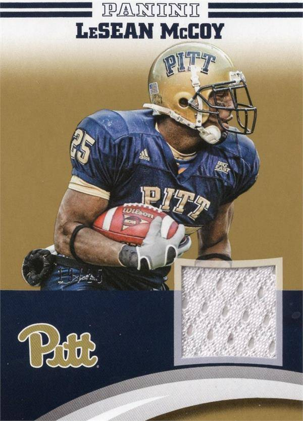 Autograph Warehouse 653834 Lesean Mccoy Player Worn Jersey Patch Football Card - Pittsburgh Panthers - 2016 Panini Team Collection Gold No.LMPIT LE 19-25