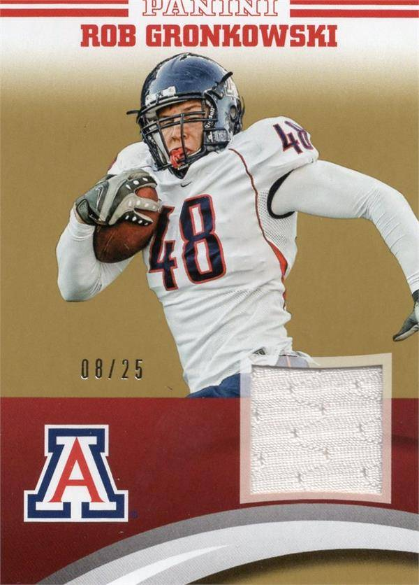 Autograph Warehouse 653839 Rob Gronkowski Player Worn Jersey Patch Football Card - Arizona Wildcats - 2016 Panini Team Collection No.RGUA Gold LE 8-25