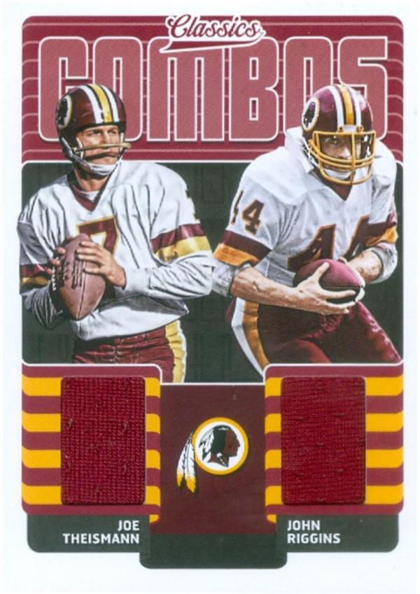 Autograph Warehouse 625019 John Riggins & Joe Theismann Player Worn Jersey Patch Football Card - Washington Redskins - 2018 Panini Classics Combos No.14