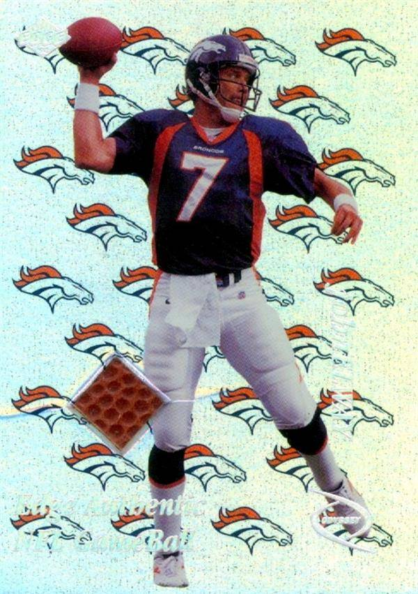 Autograph Warehouse 649429 John Elway Player Used Ball Patch Football Card - Denver Broncos - 1998 Collectors Edge Authentic Gameball No.JE