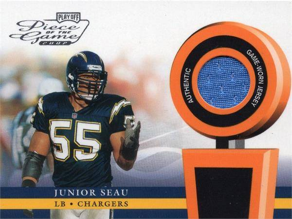 Autograph Warehouse 653830 Junior Seau Player Worn Jersey Patch Football Card - San Diego Chargers - 2002 Playoff Piece of the Game No.POG32