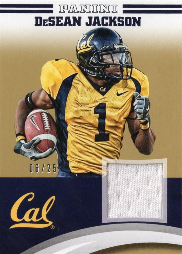 Autograph Warehouse 653833 Desean Jackson Player Worn Jersey Patch Football Card - California Golden Bears - 2015 Panini Team Collection Gold No.DJCAL LE 6-25