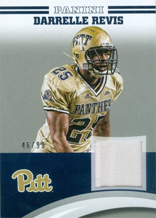 Autograph Warehouse 583165 Darrelle Revis Player Worn Jersey Patch Football Card - Pittsburgh Panthers - 2016 Panini Team Collection No.DR-PIT LE 46-99