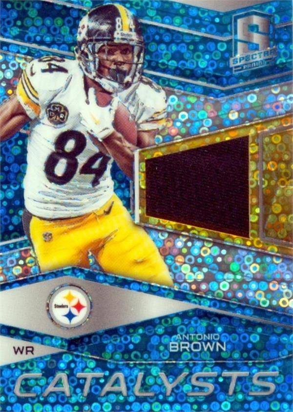 Autograph Warehouse 624777 Antonio Brown Player Worn Jersey Patch Football Card - Pittsburgh Steelers - 2018 Panini Spectra Catalysts Refractor No.7 LE 1-50